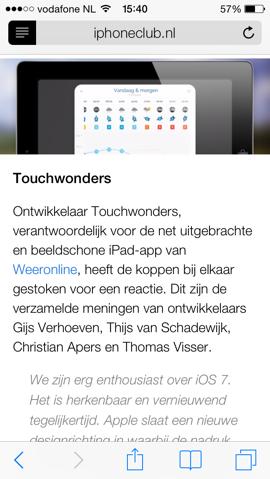 Safari iOS 7 leesweergave