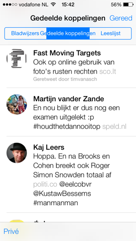 Safari iOS 7 gedeelde links