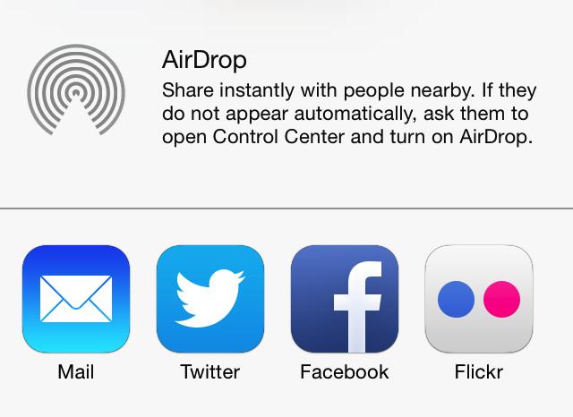 AirDrop deelscherm
