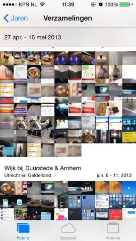 iOS 7 fotoalbum gesorteerd