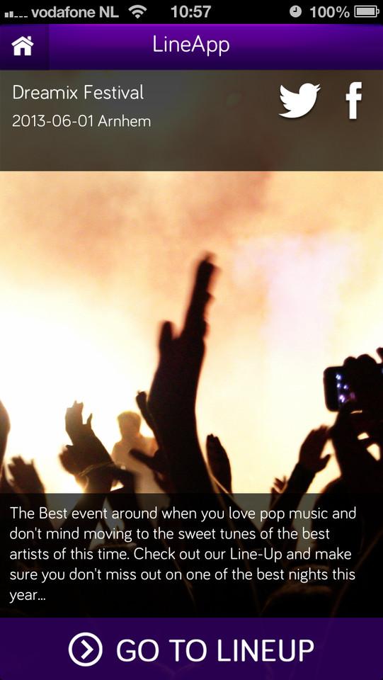 LineApp voorpagina festival