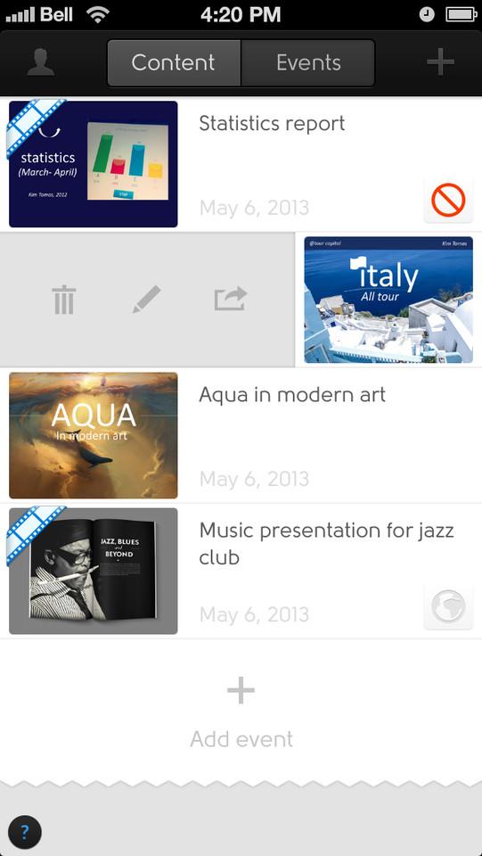 Penxy for iPhone overzicht presentaties