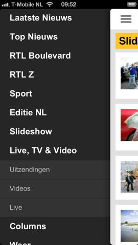 RTL Nieuws mobile hoofdmenu