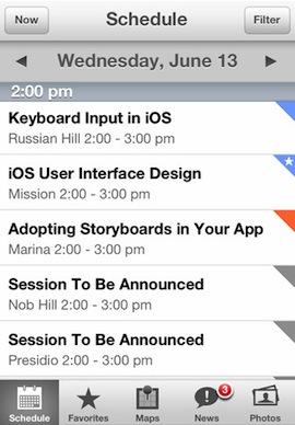 WWDC 2012 app screenshot