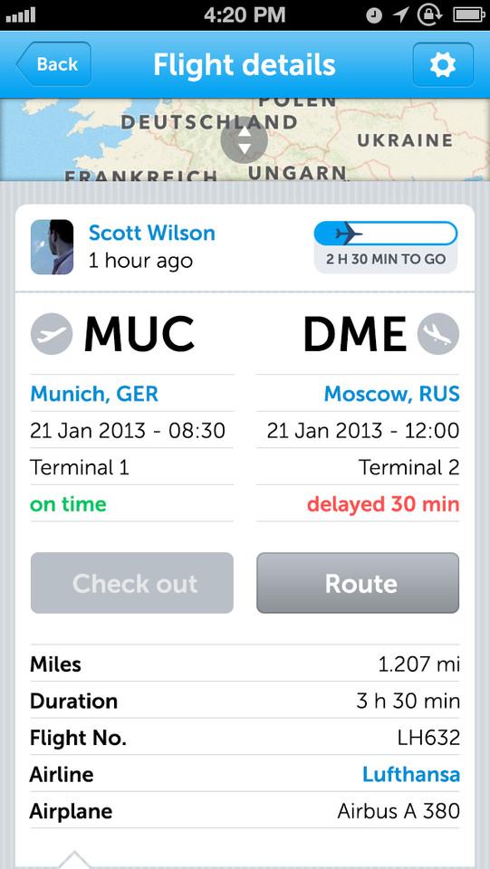 Mileways vluchtinformatie iOS