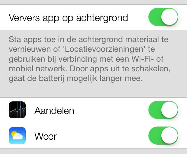iOS 7 apps in de achtergrond