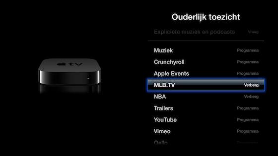 Apple TV iconen verbergen