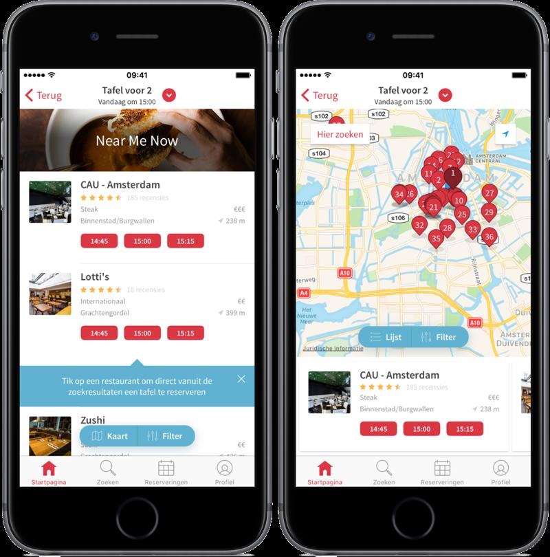 OpenTable met restaurants op de kaart.