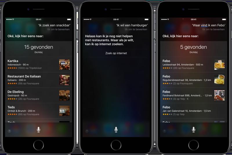 Fastfood zoeken met Siri