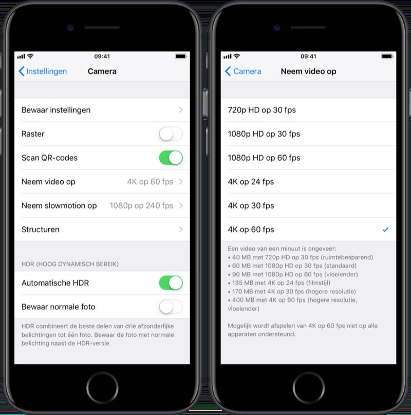 Resolutie instellen voor filmen op je iPhone.