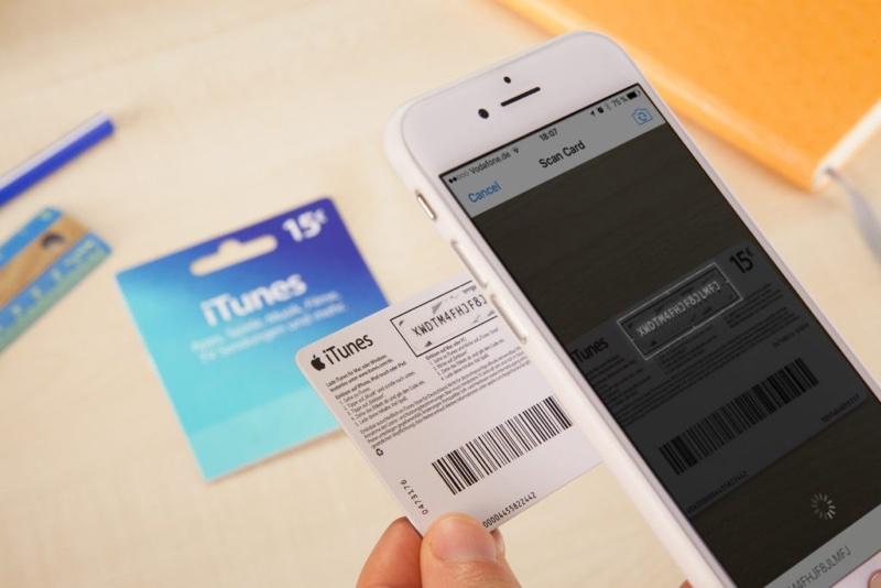 iTunes kaart scannnen