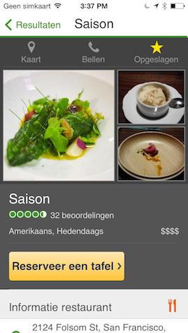 TripAdvisor restaurant beoordeling iPhone