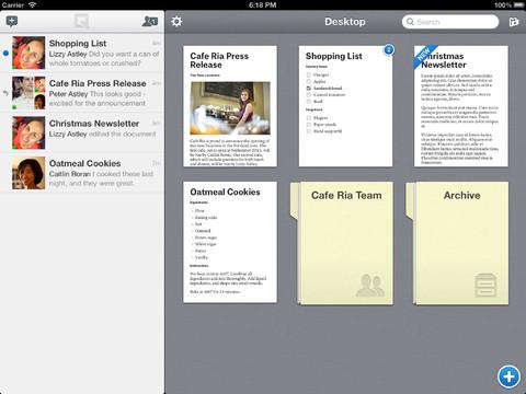 Quip links de inbox rechts de documenten