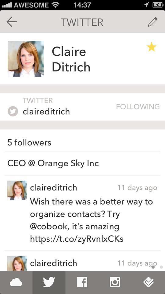 Cobook Contacts Twitterprofiel van contact