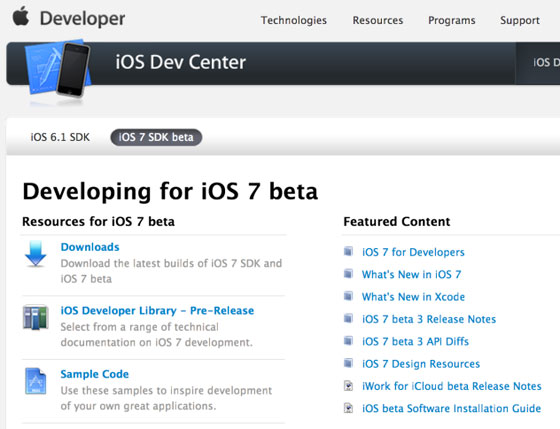 ios dev center downloads