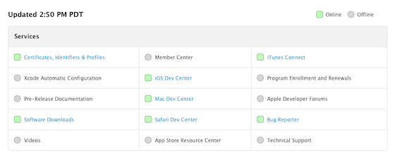Apple Dev Center statuspagina