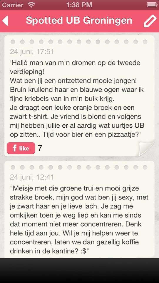 Spotted UB Groningen tekst berichten onder elkaar