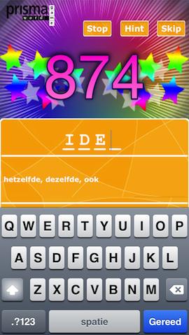 Prisma Wordgame raadspel invoerscherm