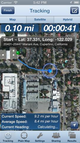 Trail Tracker GPS snelheidsweergave