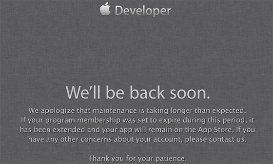 developer center down