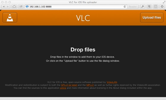 vlc wifi upload