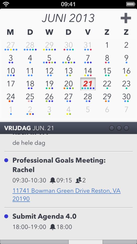 Agenda Calendar 4 standaardoverzicht