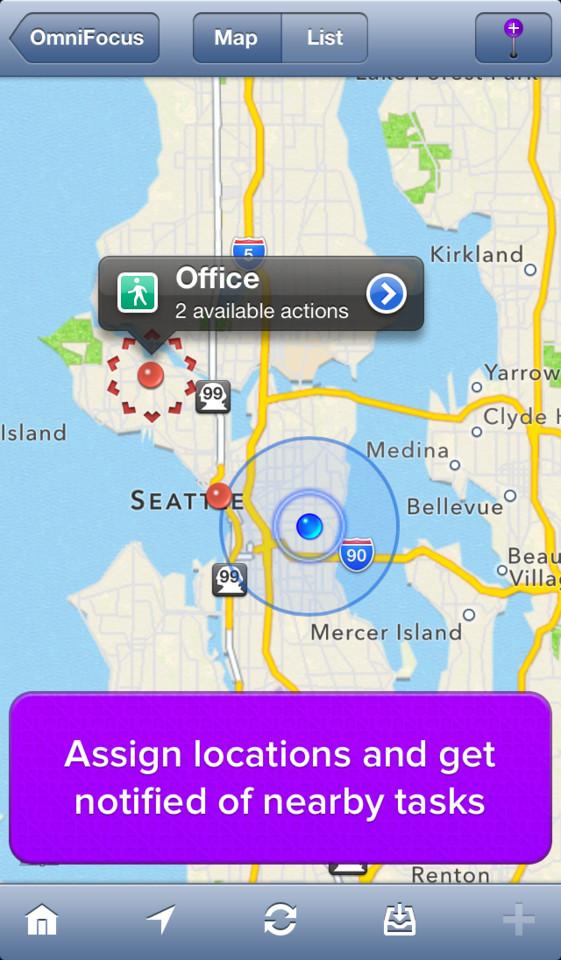 OmniFocus plekken op kaart toevoegen