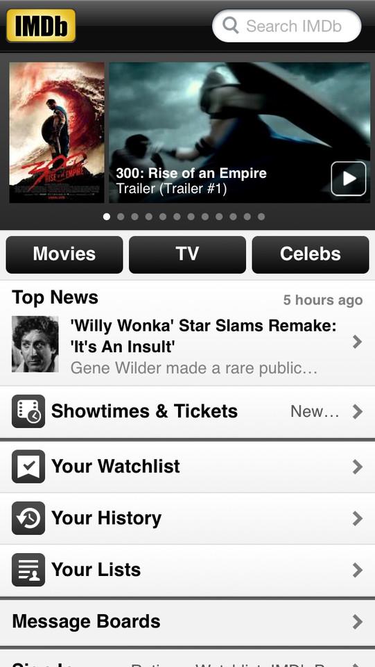 IMDb hoofdpagina iPhone-app
