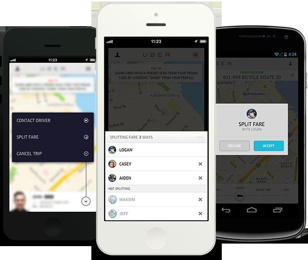 Uber taxi-app kosten splitsen