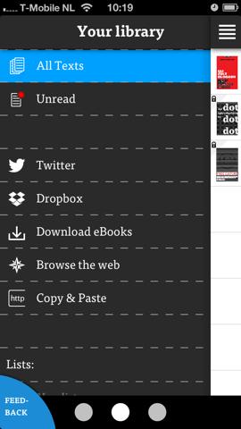 Dotdotdot Reader hoofdmenu