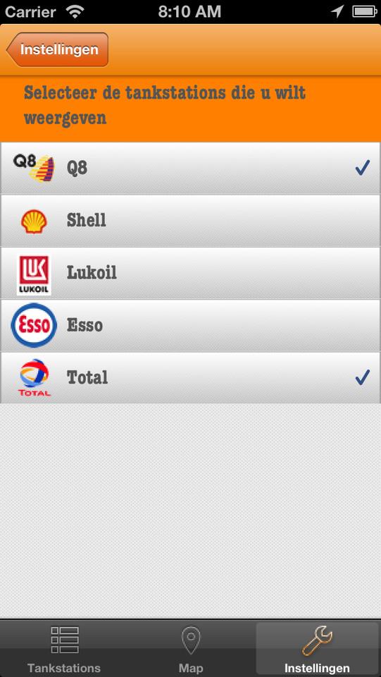 Fuel Finder welke tankstations weergeven op iPhone