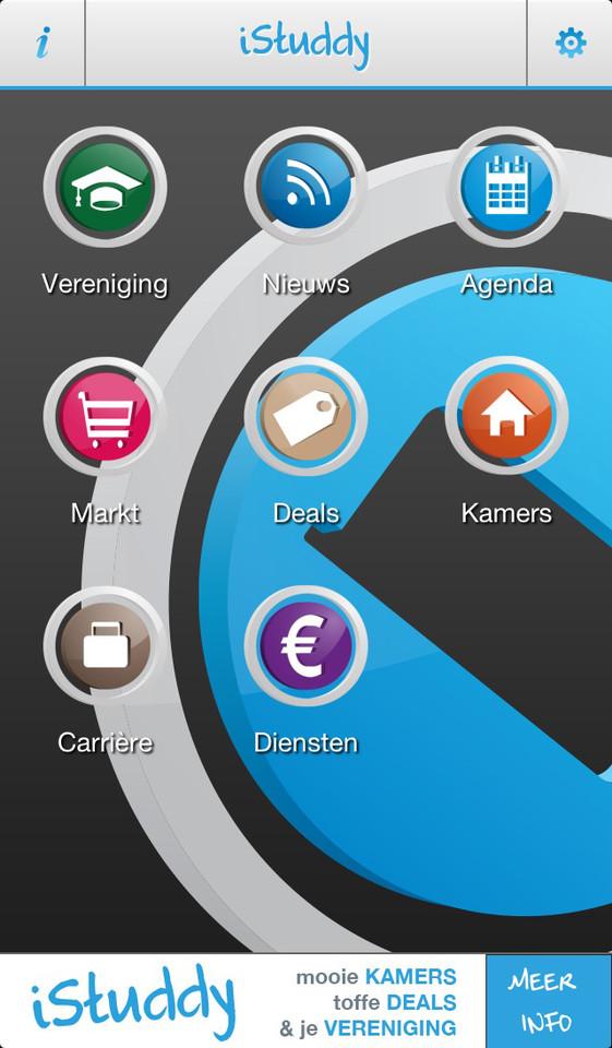 iStuddy NL iPhone-app hoofdmenu