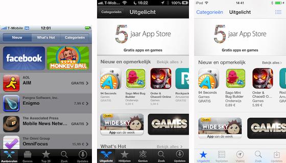 3 App Stores naast elkaar