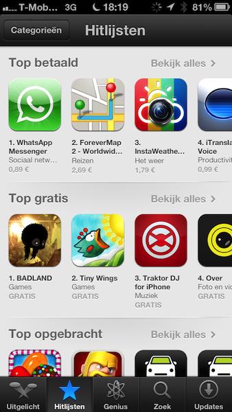 App Store hitlijst iOS 6