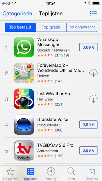 App Store hitlijst iOS 7