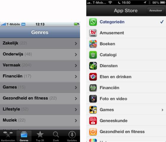 App Store categorieën oud versus nieuw helder