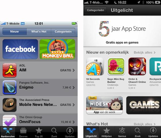 App Store Aanbevolen oud versus nieuw helder