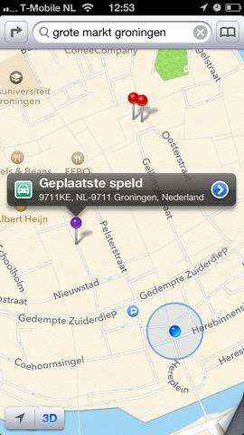 Apple Maps kaarten geplaatste speld