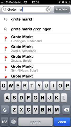 Apple Maps Kaarten zoeken