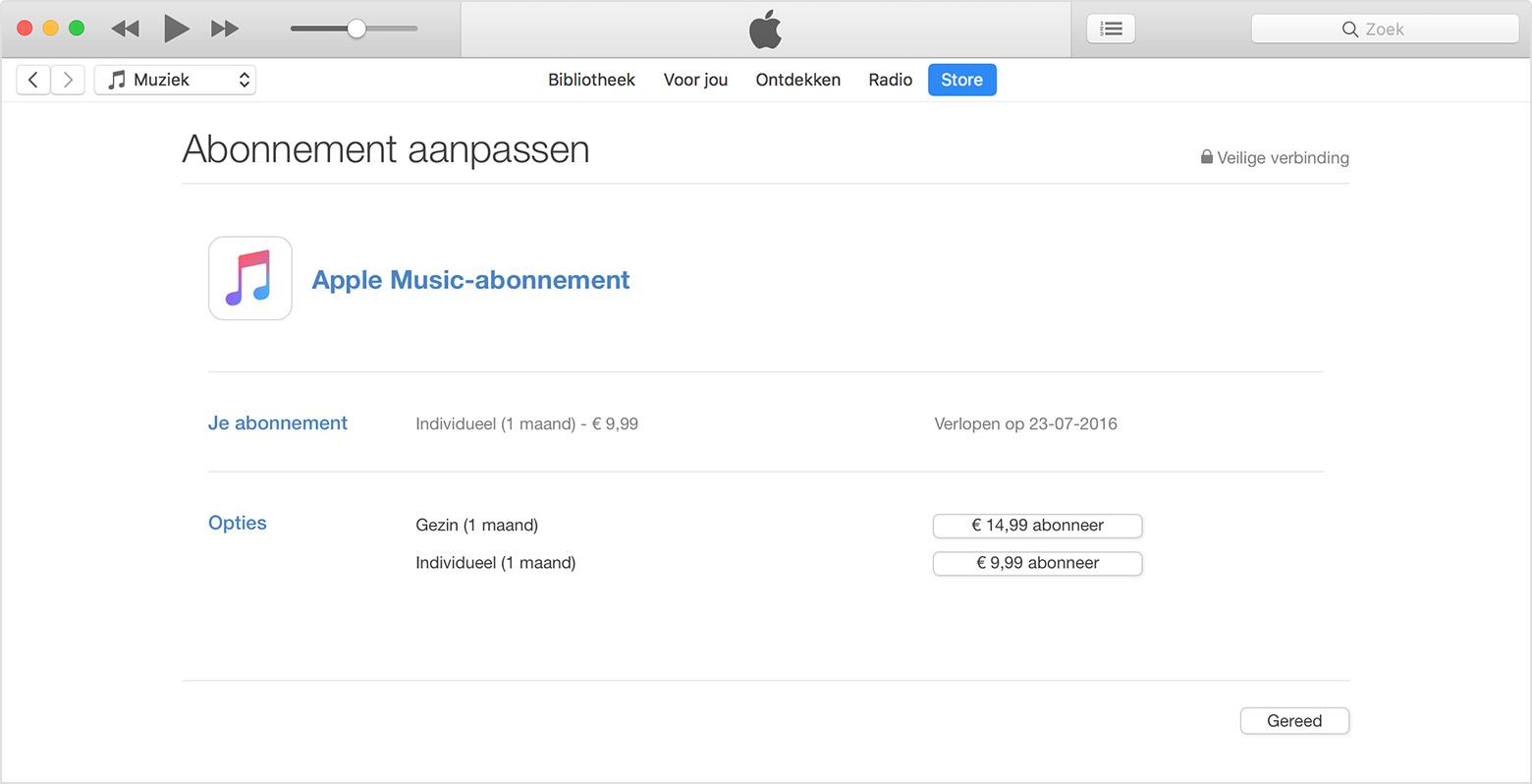 macOS iTunes-abonnement