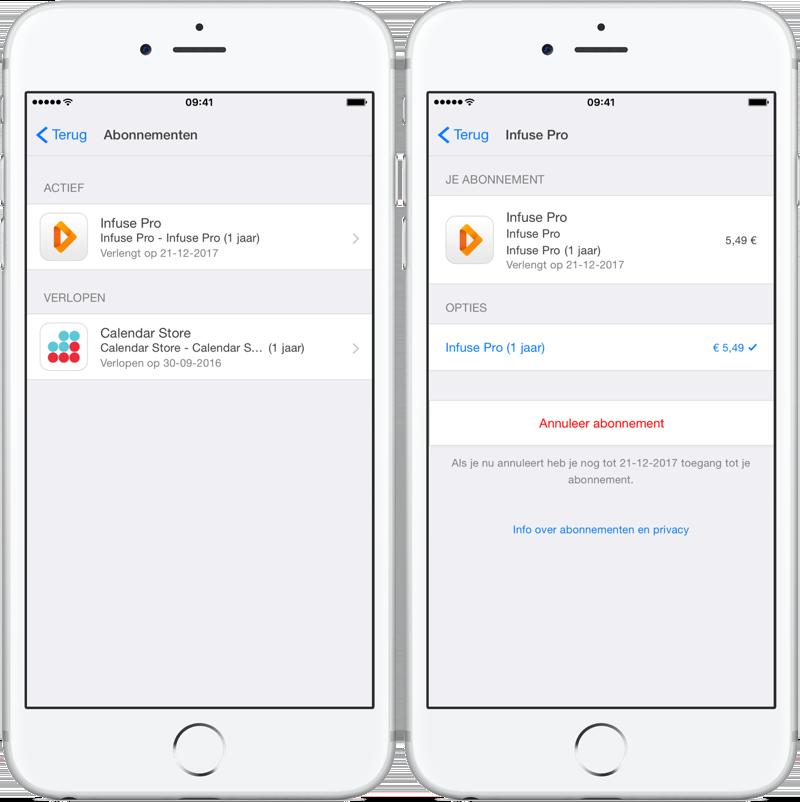 App Store abonnement opzeggen