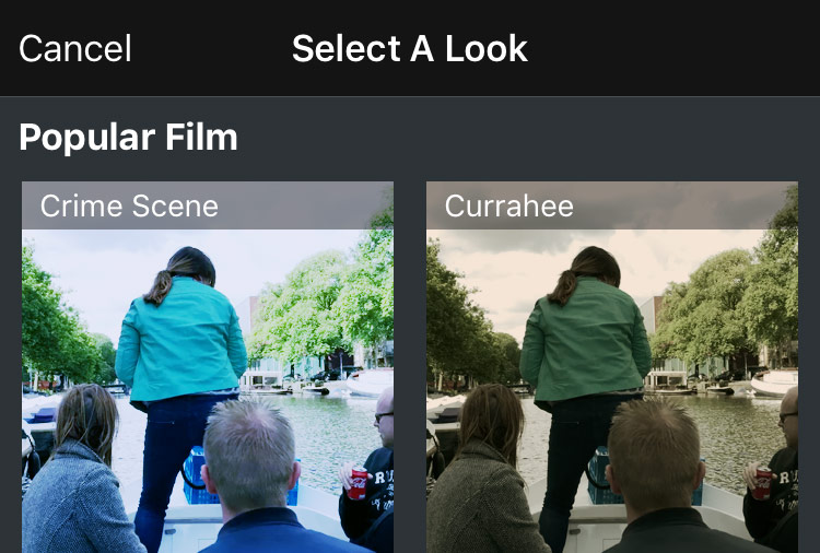 Movie Look-app - filters