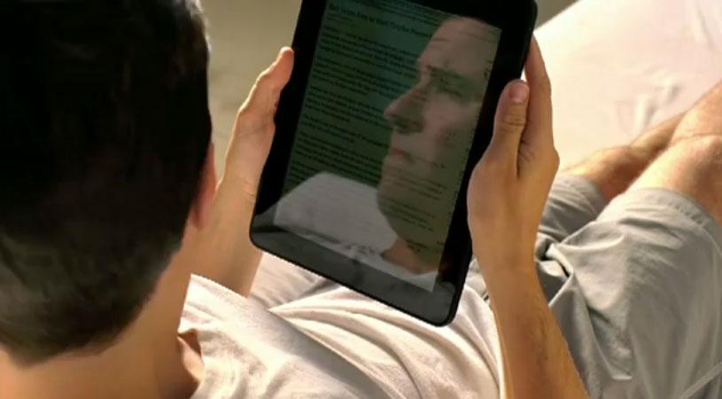 iPad met spiegelend scherm buiten lezen