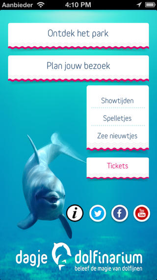 dolfinarium iphone app openingsscherm