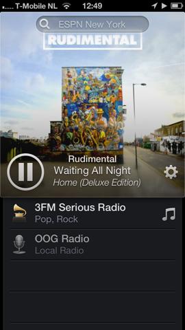 Radium radio-app iPhone 3FM afspelen
