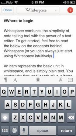 whitespace iphone app