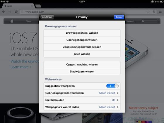 Gegevens wissen Chrome iPad