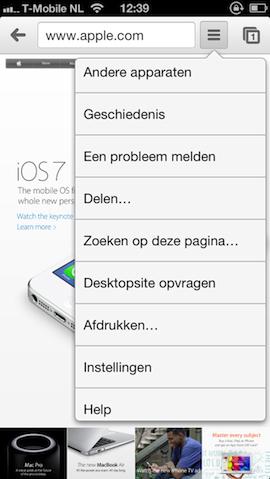 Gegevens wissen Chrome menu