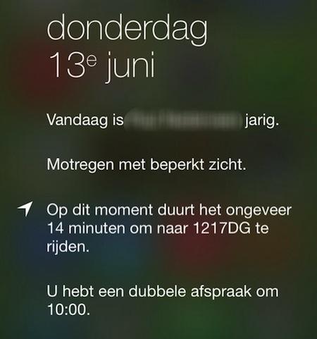 iOS 7 locatiedata Berichtencentrum