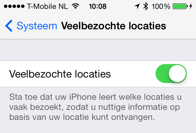 Veelbezochte locaties iOS 7